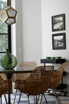 Woven Chairs, Pedestal Table, Geo Chandelier