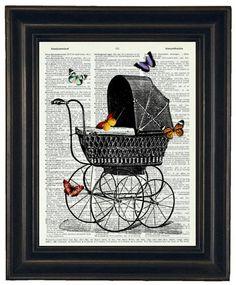 BOGO SALE Baby Carriage and Butterflies by HamiltonHousePrints, $9.50