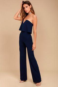 51c582de714e Power of Love Navy Blue Strapless Jumpsuit