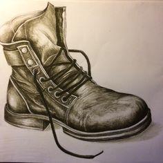 charcoal boot -Nicky Heard. Art Work, Combat Boots, Charcoal, Army, Shoes, Fashion, Kunst, Artwork, Gi Joe