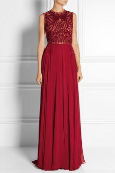 Elie Saab | Embellished tulle and silk-blend georgette gown | NET-A-PORTER.COM