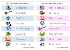 daily routine charts for kids with pictures | have previously posted about our morning routine chart and afternoon ...