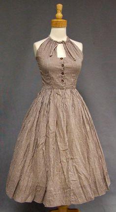1950's Brown Gingham Keyhole Halter Sun Dress