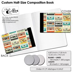 Items similar to Half-Size Composition Book - Mix Tape on Etsy
