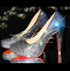 OOOOHHH lalala !!! Sparkly shoes with red soles ! CHARLIE CO. Black Diamond Crystal Court Heels by CharlieCoLondon
