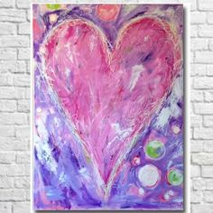 Pink and Purple Whimsical Painting for Girls Room #whimsicalart #heartpainting #unsophisticatedart