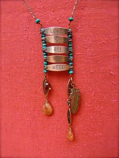 Turquoise and Copper stamped / Love is All by AdornmentByNicole, $45.00