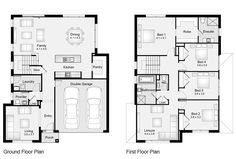 Skip the front living room and make it a big porch instead? House Plans 2 Storey, 2 Storey House Design, Two Story House Plans, Family House Plans, Small Modern House Plans, Modern Floor Plans, Farmhouse Floor Plans, House Plans Mansion, Porch House Plans