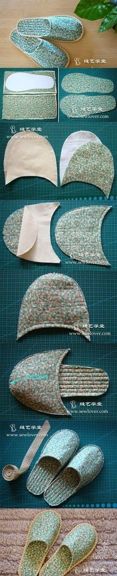 DIY : Sew Slipper | DIY  Crafts Tutorials - use old towels for post-bath / shower.