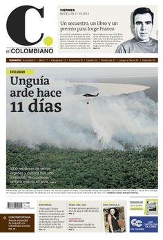 Portada de El Colombiano para el viernes 21 de marzo de 2014