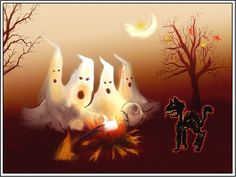 4 Autumn Halloween Ghosts Greeting Notecards/ Envelopes Set. $6.99, via Etsy.