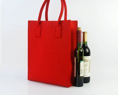 Wine Tote Bag Wine Holder Felt Purse Shoulder Bag by Filzkraft