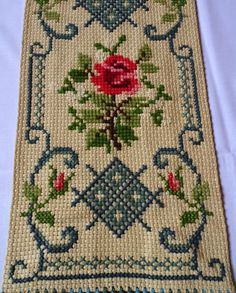 Lovely vintage handmade tapestry / table runner with Roses. Amazing handicraft cross stitch on linen canvas there is a lining at the back very precise work In a Beaded Cross Stitch, Cross Stitch Rose, Cross Stitch Flowers, Cross Stitch Embroidery, Hand Embroidery, Cross Stitch Patterns, Photo Table, Picture Table, Handmade Wall Hanging