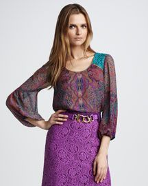 T52HY Nanette Lepore Starry Night Silk Top