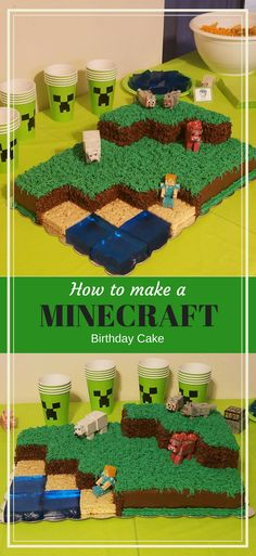 to make and decorate a Minecraft Landscape birthday cake - Dus. How to make and decorate a Minecraft Landscape birthday cake - DustinNikki Mommy of Three,How to make and decorate a Minecr. Minecraft Torte, Minecraft Birthday Cake, Minecraft Houses, Minecraft Cupcakes, Minecraft Food, Minecraft Garden, Minecraft Bedroom, Minecraft Crafts, Minecraft Skins