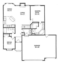 1179 sq ft ranch style small house plan 2-bedroom split. if you