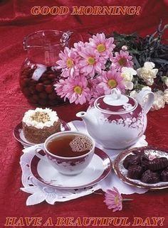 Have a beautiful day! Party Set, Tea Party, Mini Desserts, Coffee Love, Coffee Break, Tea Gif, Raindrops And Roses, Pause Café, Good Morning Coffee