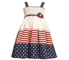 Cuteness for your little one in a Bonnie Jean Patriotic summer dress!