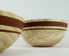 Binary Brown  White Ash Wood Bowl Set by makye77 on Etsy, $65.00