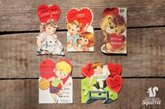 Group of 5 Vintage Valentine Cards - Heart, love, Chew, Gum, Lion, Lamb, Basketball, Sport, Jump, 1950s, 1960s, 1970s by CaffeinatedSquirrel on Etsy
