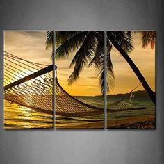 Framed Palm Tree Hammock Beach Sunset Canvas Prints Picture Wall Art Home Decor #Firstwallart #Impressionism