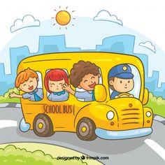 مرسومة باليد حافلة مدرسية مع الأطفال Cartoon School Bus, School Bus Driver, Cartoon Boy, School Picture Frames, Welcome Back To School, Life Map, School Decorations, School Pictures, Creative Posters