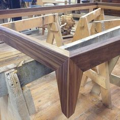 """""""New bed frame detail.  Each joint is a 3-way mitre with a 7 degree beveled face and legs are tapered. Still needs a few more coats of oil and some wax,…"""""""