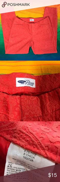 Old navy pixie orange slacks, size 8 petite Old navy pixie orange ankle pants slacks, size 8 petite. Measurements in photos. Normal wear, no noticeable flaws. Create a bundle and I'll send you an offer! Old Navy Pants Ankle & Cropped