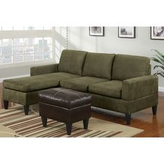 Poundex -3 pc Grey microfiber two tone apartment size sectional sofa with reversible chaise and faux leather ottoman $340