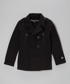 With multiple pockets and a snazzy double-breasted design, this cozy warm peacoat turns little rascals into adorable gentlemen.100% polyesterMachine wash; tumble dryImported