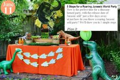 "5 Steps for a Roaring Jurassic World Party Now is the perfect time for a dinosaur-themed party, with the release date of ""Jurassic World"" just a few days away. But just how do you throw a roaring Jurassic World party? We'll show you in 5 simple steps. www.teelieturner.com"