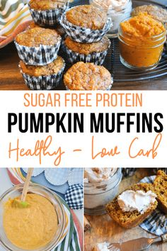 Tender pumpkin protein muffin recipe made with fresh pumpkin pulp, warm fall spices and extra protein. Serve these healthy pumpkin muffins for a quick breakfast on the go or enjoy for an afternoon snack. #lowcarb #pumpkin #recipe #sugarfree