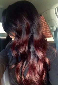 Yummy chocolate cherry baliage ombre.. just in time for fall