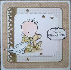 LOTV - Baby with Teddy with Always and Forever Solids, Pressed in Time Paper Pads and Vintage Labels Just to Say Set 27 by Squirrel Time To Celebrate, Vintage Labels, Digi Stamps, Lily Of The Valley, Happy Weekend, Baby Cards, Clear Stamps, Squirrel, Projects To Try