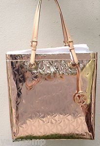 Michael Kors Rose Gold Metallic Mirror Leather Accent Large Tote Bought This Yesterday