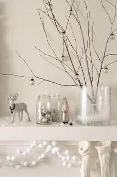 Twigs In A Vase With Small Ornaments - Sarah Barksdale Design