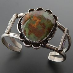 NATIVE AMERICAN NAVAJO STERLING SILVER GREEN TURQUOISE WIDE CUFF BRACELET – Gold Stream Boutique