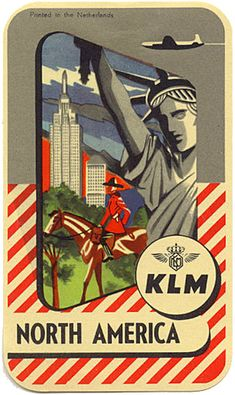 Vintage travel poster - Canada + USA - KLM North America - Mounties and statue of Liberty Vintage Advertisements, Vintage Ads, Vintage Airline, Advertising Ads, Retro Ads, Poster Ads, Poster Prints, Posters Canada, Old Luggage