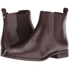 MICHAEL Michael Kors Thea Bootie (Coffee Vachetta) Women's Boots ($130) ❤ liked on Polyvore featuring shoes, boots, ankle booties, brown, mid-calf boots, round toe ankle boots, low heel booties, slip on boots, bootie boots and pull on boots