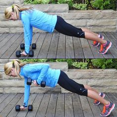 Plank with Dumbbell Row So good for the core!  ....if only i could do a regular plank to begin with..