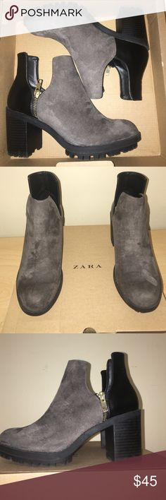 Women's Zara Booties Women's Zara track ankle boots. Grey and black suede/leather with slits and zipper. Zara Shoes Ankle Boots & Booties