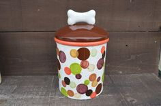 Earth Tone Polka Dots or Treat Ceramic Canister with Bone Lid - Natural Colors - Orange, Golds, and Browns