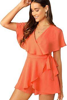 09496122537 New SheIn Women's Sexy V Neck Wrap Front Tie Waist Short Romper Jumpsuit. Women  clothing