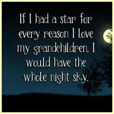 """If I had a star for every reason I love my grandchildren, I would have the whole night sky.""."