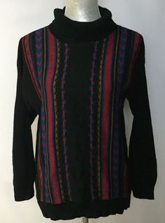 VTG Sweetree Sweater Black Aztec Print Short Turtleneck Boho Hippie Style USA L #Sweetree #TurtleneckMock