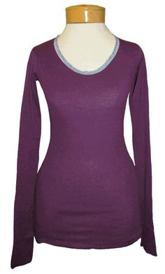 Sucre Soir Baby Rib Long Sleeve Crew w/Pleated Trim - Eggplant A perfect tee to wear now and layer in the fall! Sucre Soir's beautiful baby rib tees are smooth and soft, 100% cotton, and have a sexy scoop neckline! Contrasting lace ribbon trim makes the look as charming as can be. Versatile, beautiful color!!! http://www.melange4women.com/susoritrteee.html