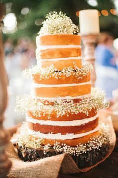 naked wedding cake with babies breath - Deer Pearl Flowers