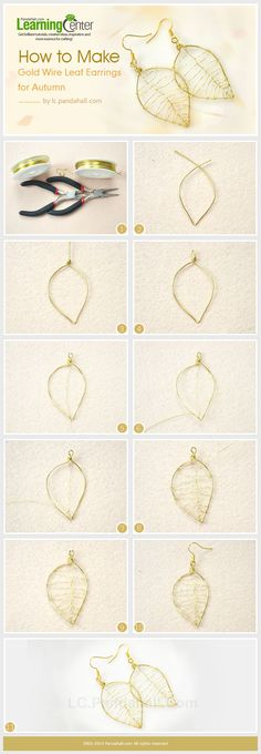 How to Make Gold Wire Leaf Earrings for Autumn #Wire #Jewelry #Tutorials