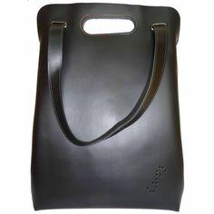 """Tote bag """"Kab"""" by Deux filles en fil, made of black cowhide leather at Desiary"""