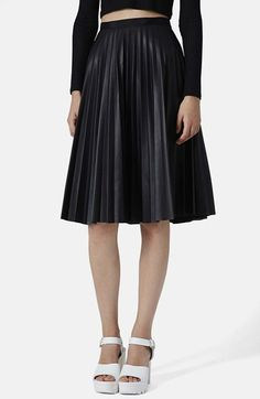 Topshop Pleat Midi Skirt available at #Nordstrom